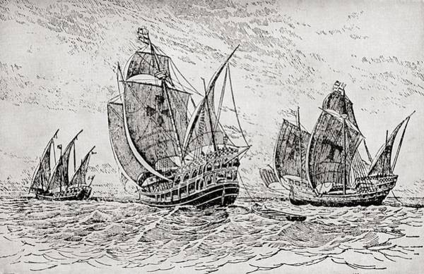 Pinta Drawing - The Fleet Of Columbus, The Santa Maria by Vintage Design Pics