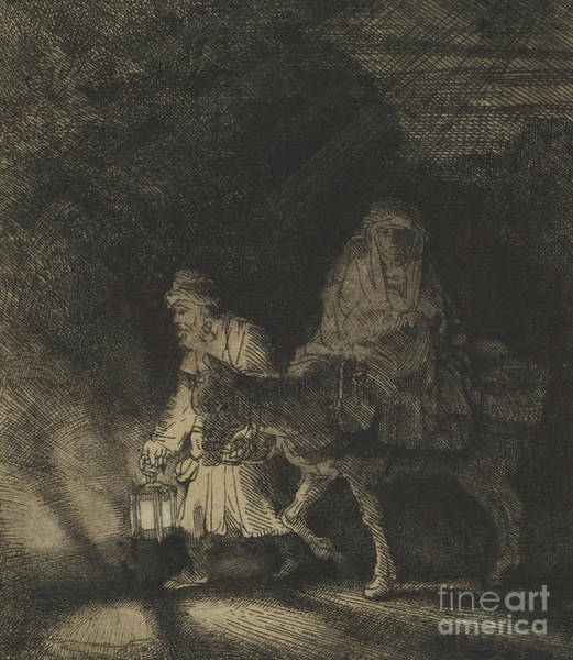 Wall Art - Drawing - The Flight Into Egypt, A Night Piece, 1651 by Rembrandt