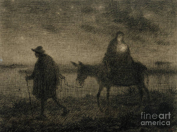 Bethlehem Drawing - The Flight Into Egypt by Jean Francois Millet