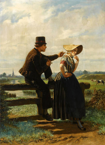 Wall Art - Painting - The Flirtation by Adolf Alexander Dillens