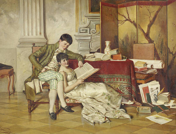 Flirtatious Painting - The Flirtatious Tutor by Isidor Kaufmann