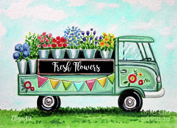Painting - The Floral Truck by Elizabeth Robinette Tyndall