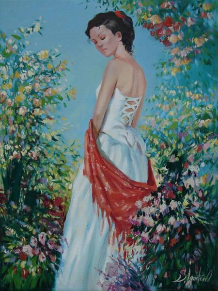 Ignatenko Painting - The Florist In A Red Kerchief by Sergey Ignatenko