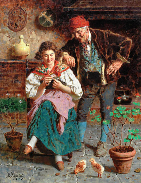 Rural Life Wall Art - Painting - The Flower by Eugenio Zampighi