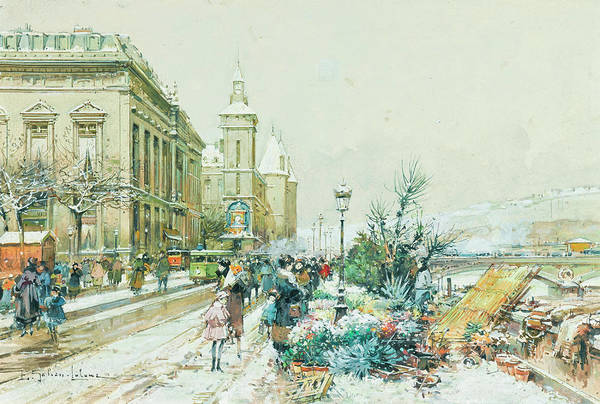 Wall Art - Painting - The Flower Market Along The Quai Of The Seine by Eugene Galien-Laloue