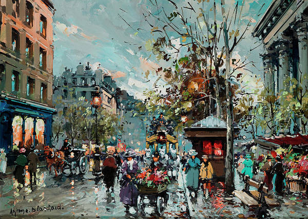 Wall Art - Painting - The Flower Market At La Madeleine by Antoine Blanchard