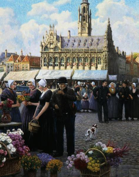 Trader Painting - The Flower Market In Middelburg by Henri Houben