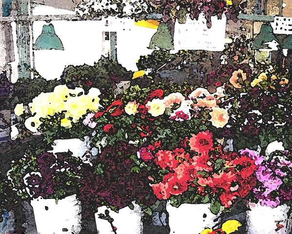 Market Place Mixed Media - The Flower Market by James Johnstone