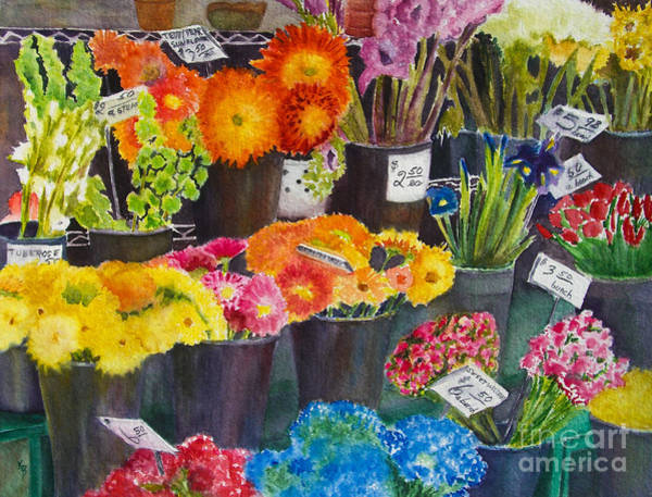 Painting - The Flower Market by Karen Fleschler