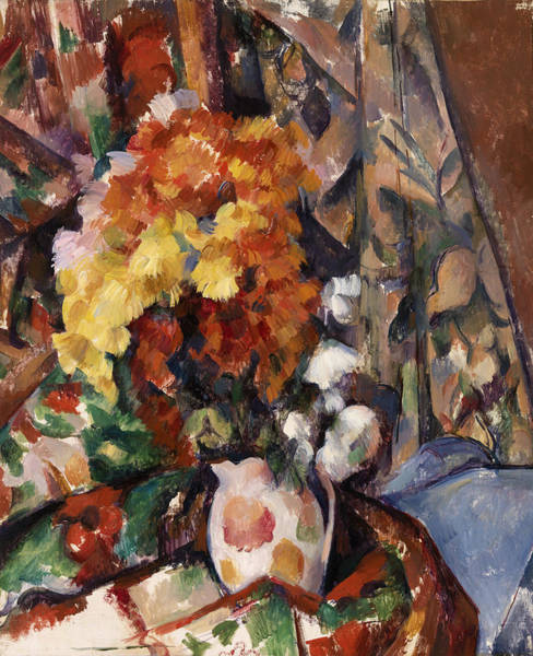 Wall Art - Painting - The Flowered Vase by Paul Cezanne
