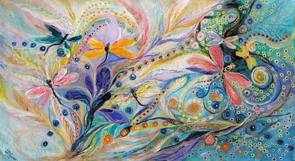 Wall Art - Painting - The Flowers And Dragonflies by Elena Kotliarker
