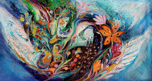 Wall Art - Painting - The Flowers And Sea by Elena Kotliarker