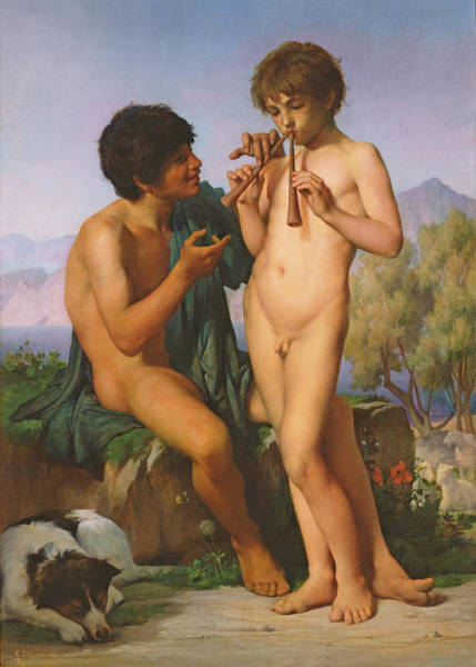 Unclothed Wall Art - Painting - The Flute Lesson by Jules Elie Delaunay