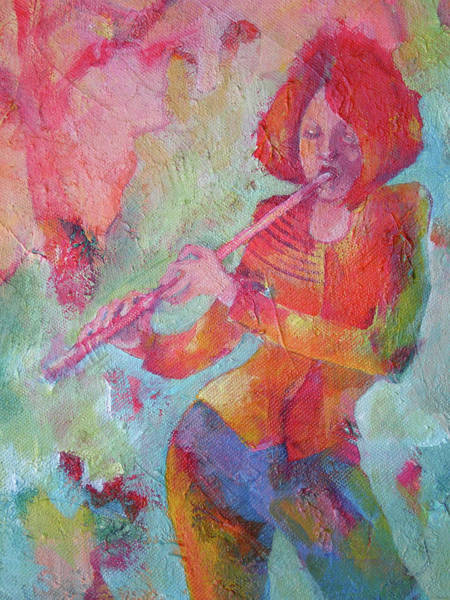 Wall Art - Painting - The Flute Player by Susanne Clark