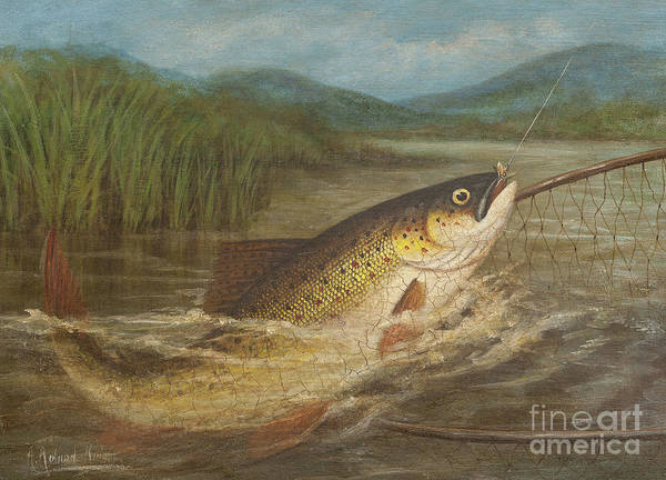 Wall Art - Painting - The Fly Fisherman's Net by A Roland Knight