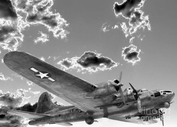 B-17 Bomber Photograph - The Flying Fortress by David Bearden
