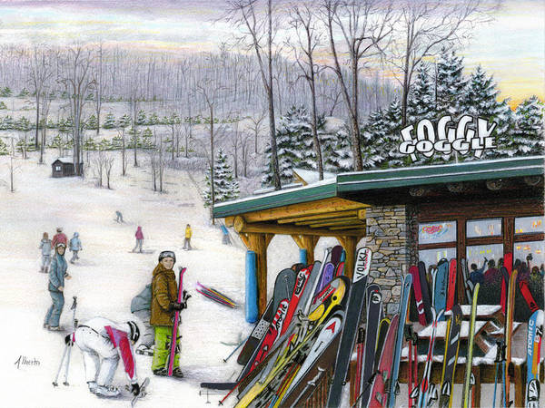 Snow Scene Painting - The Foggy Goggle At Seven Springs by Albert Puskaric