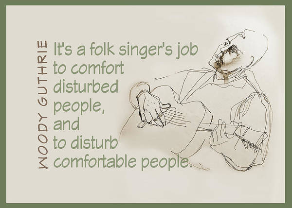 Wall Art - Drawing - The Folksinger's Job by Peggy Lipschutz