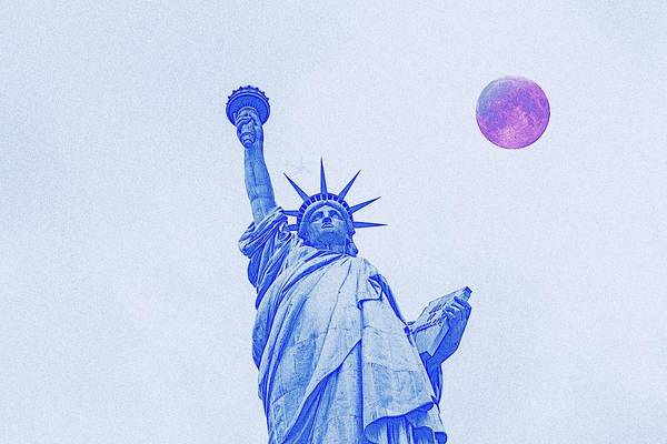 Manhattan Skyline Painting - The Fool Blood Moon And The Lady Liberty  2 by Celestial Images