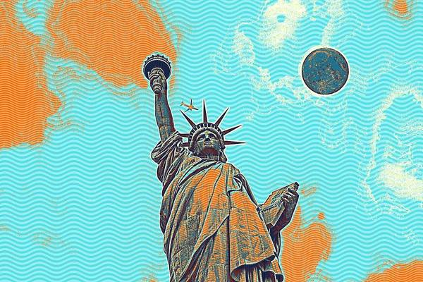 Manhattan Skyline Painting - The Fool Blood Moon And The Lady Liberty  5 by Celestial Images