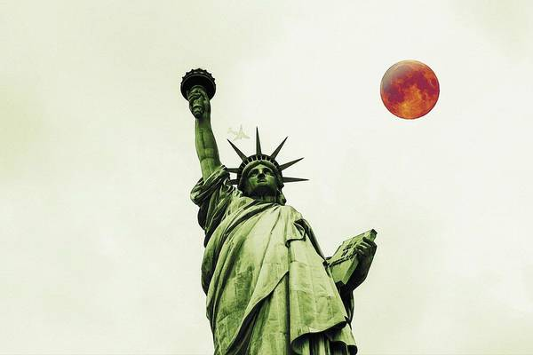 Manhattan Skyline Painting - The Fool Blood Moon And The Lady Liberty by Celestial Images