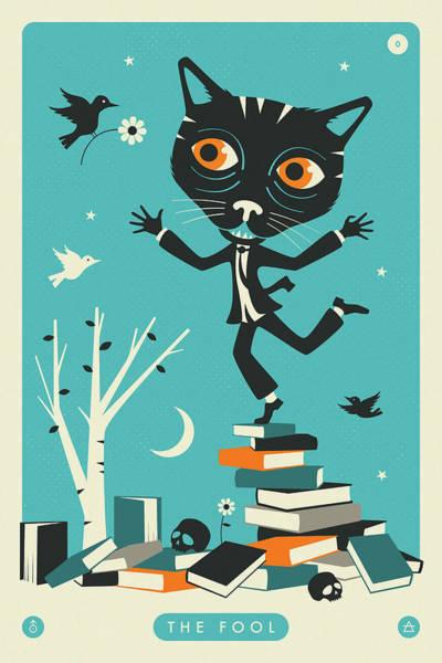 The Fool Tarot Card Cat Art Print by Jazzberry Blue