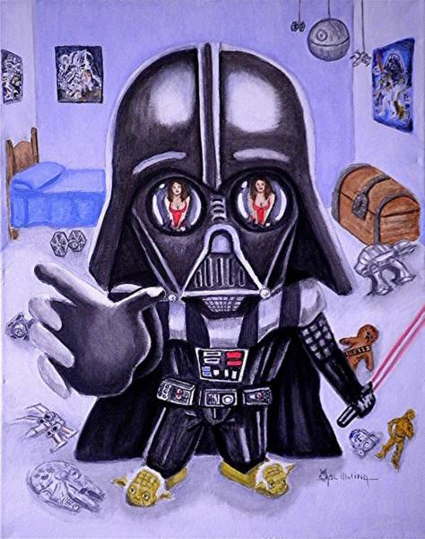 Wall Art - Painting - The Force Is Strong With This One by Al  Molina
