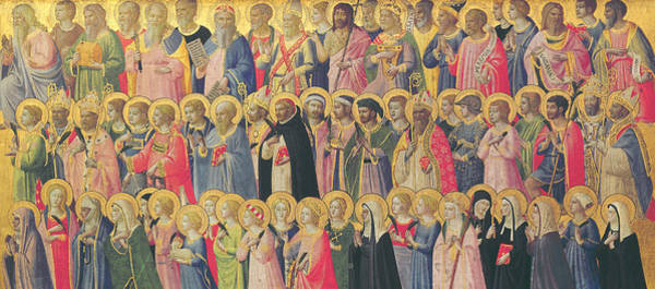 Groups Of People Painting - The Forerunners Of Christ With Saints And Martyrs by Fra Angelico