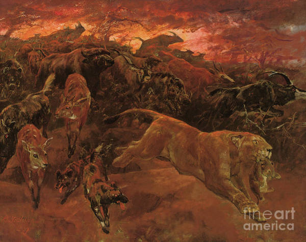 Evacuate Wall Art - Painting - The Forest Fire by John Trivett Nettleship
