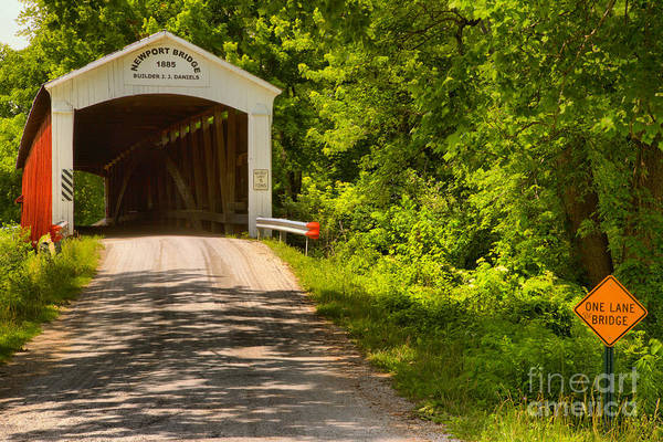 Photograph - The Forested Newport Covered Bridge by Adam Jewell