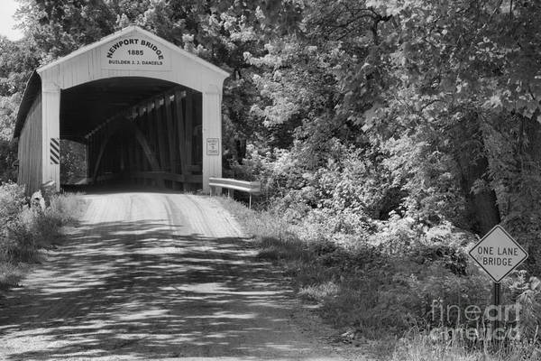 Photograph - The Forested Newport Covered Bridge Black And White by Adam Jewell