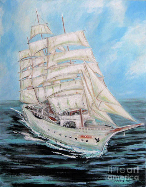 Painting - The Fortune Is Coming. Painting Of Sailing Ship by Oksana Semenchenko