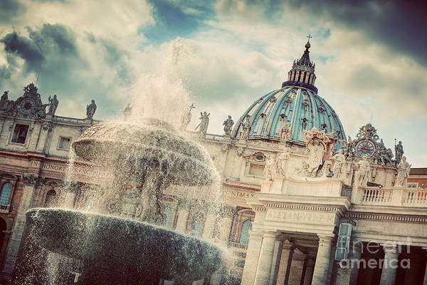 Saint Peters Square Photograph - The Fountain And The Dome Of St. Peter's Basilica In Vatican City by Michal Bednarek