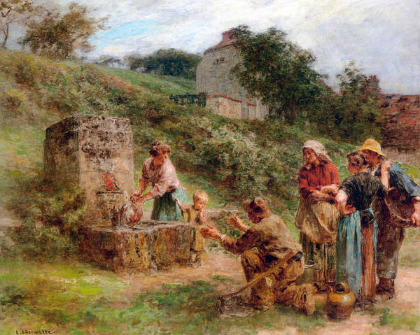 Old Masters Digital Art - The Fountain by Leon Augustin Lhermitte