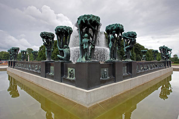 Photograph - The Fountain With Tree Groups In The Vigeland Park by Aivar Mikko