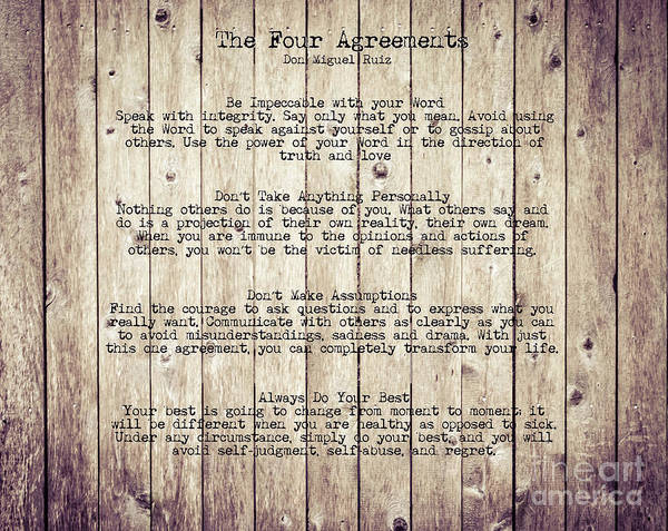 Photograph - The Four Agreements 7 by Andrea Anderegg