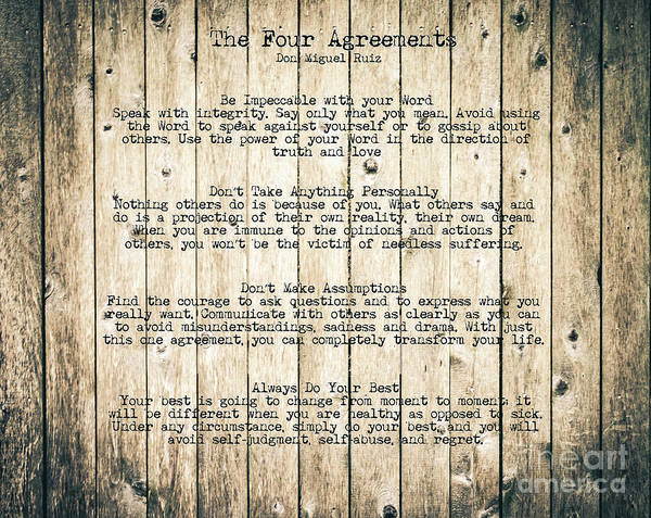 Photograph - The Four Agreements 8 by Andrea Anderegg