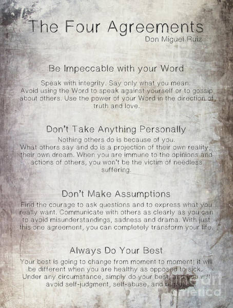 Photograph - The Four Agreements Metal Background by Andrea Anderegg