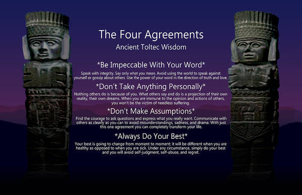 Wall Art - Digital Art - The Four Agreements Poster by M Spadecaller