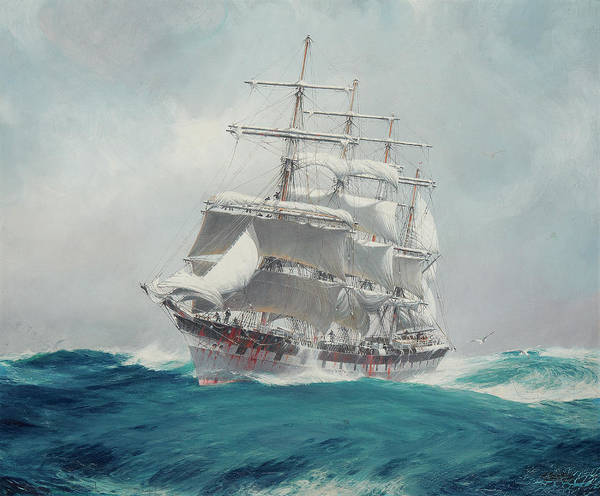 Wall Art - Painting - The Four-masted Wool Clipper Port Jackson Cutting Through A Heavy Swell Under Reefed Topsails by Jack Spurling