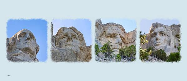 Photograph - The Four Presidents Mug Shot by John M Bailey