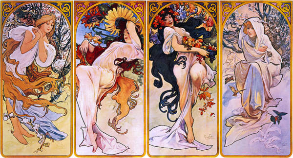 Painting - The Four Seasons by Alphonse Mucha
