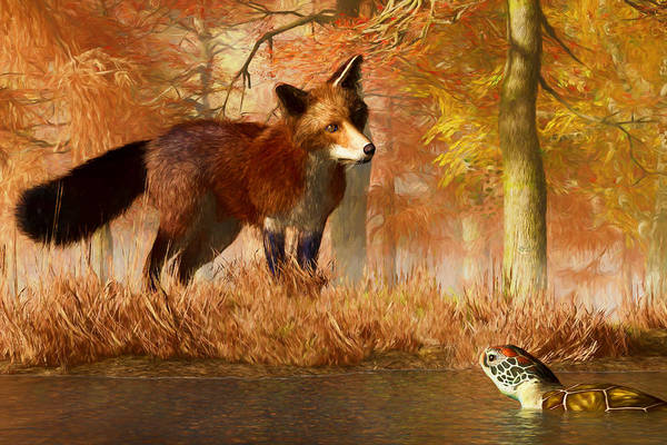 Reynard Wall Art - Digital Art - The Fox And The Turtle by Daniel Eskridge