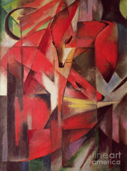 The Blue Rider Wall Art - Painting - The Fox by Franz Marc