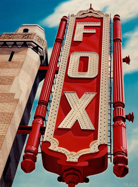 Neon Sign Painting - The Fox Theater by Van Cordle