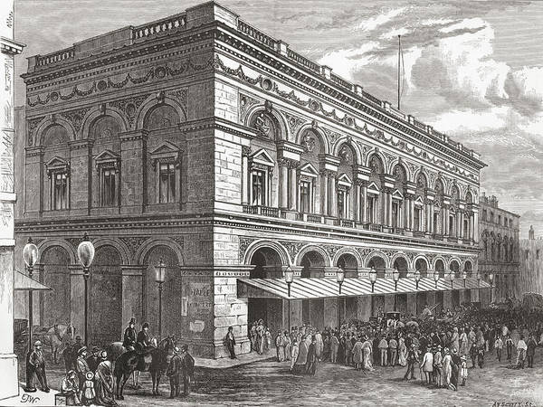 Manchester Drawing - The Free Trade Hall, Manchester by Vintage Design Pics