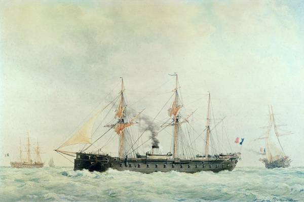 Wall Art - Painting - The French Battleship by Francois Geoffroy Roux