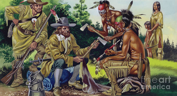 Trader Painting - The French In Canada, Trading For Fur With The Native People by Ron Embleton