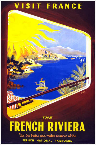 Kunst Painting - The French Riviera - Vintage Travel Poster by Studio Grafiikka