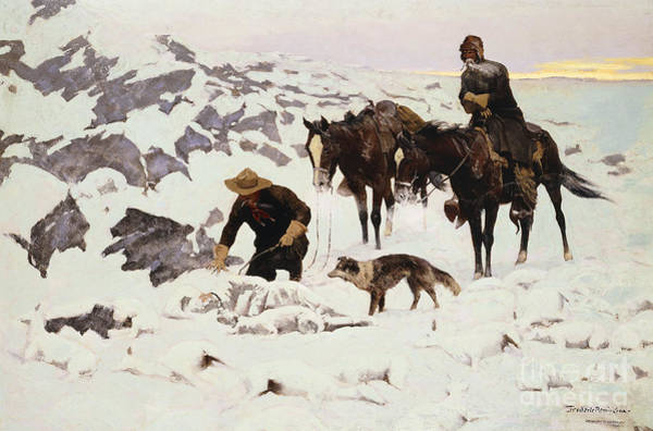 Worker Painting - The Frozen Sheepherder by Frederic Remington